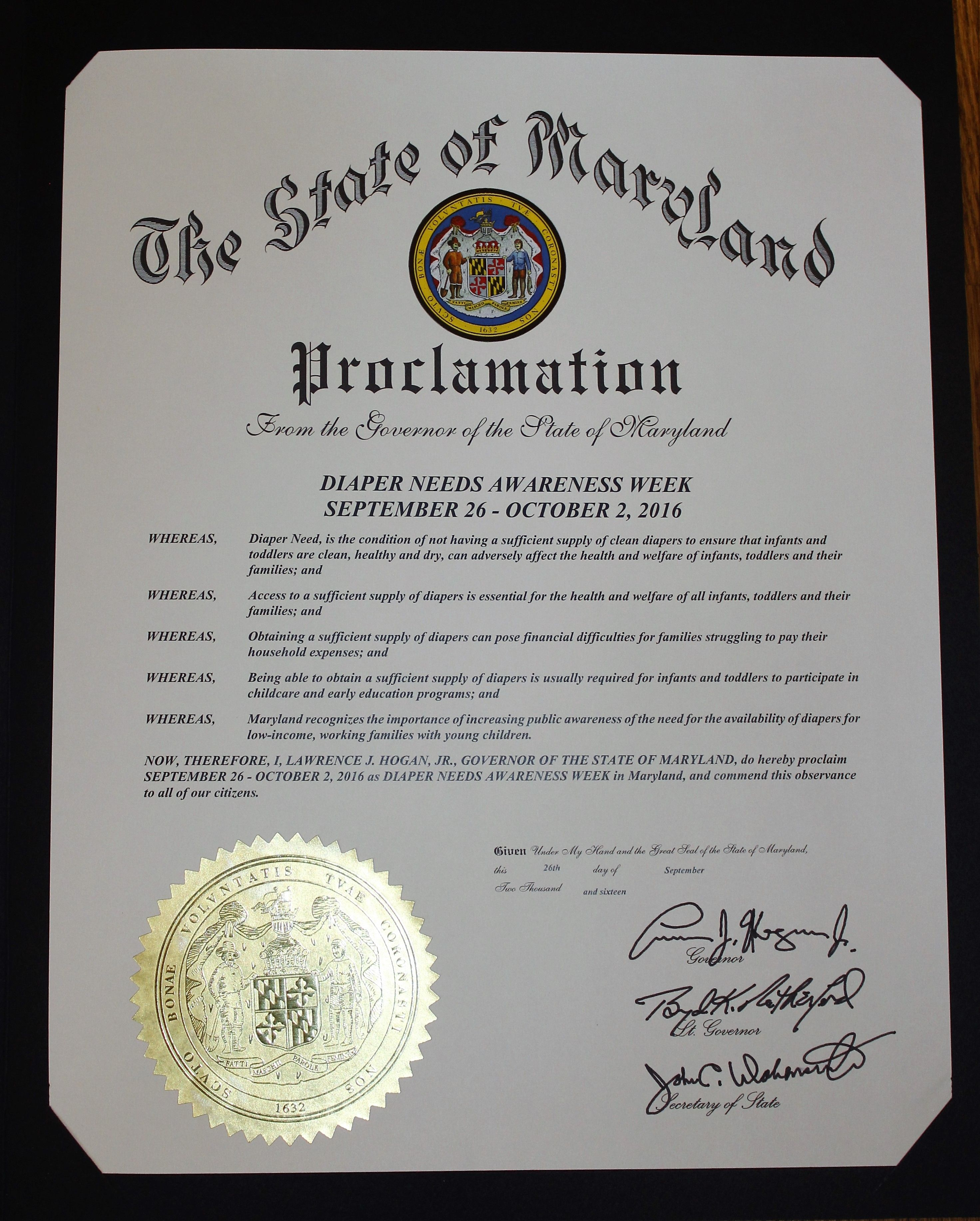 MARYLAND - Governor Lawrenece Hogan, Jr.'s  proclamation recognizing Diaper Need Awareness Week (Sep. 26 - Oct. 2, 2016) #diaperneed diapered.org