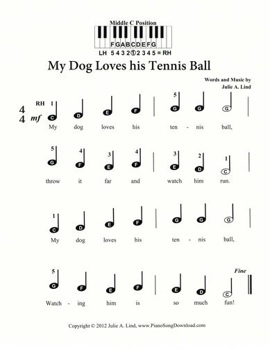 My Dog Loves His Tennis Ball, cute pre-staff piano music