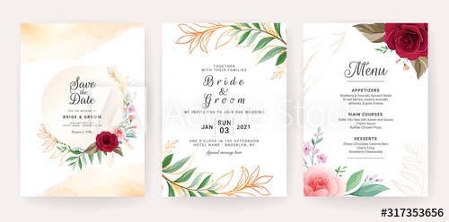 Set Of Cards With Floral Decoration Luxury Wedding Invitation Temp Wedding Invitation Templates Floral Wedding Invitation Card Elegant Wedding Invitation Card