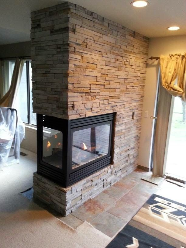 Stone Brick With Peninsula Fireplaces Fireplace Tile Stacked