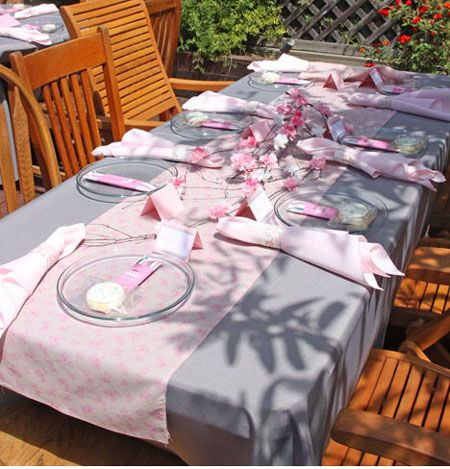 Pink And Grey Cherry Blossom Baby Shower Table Setting And