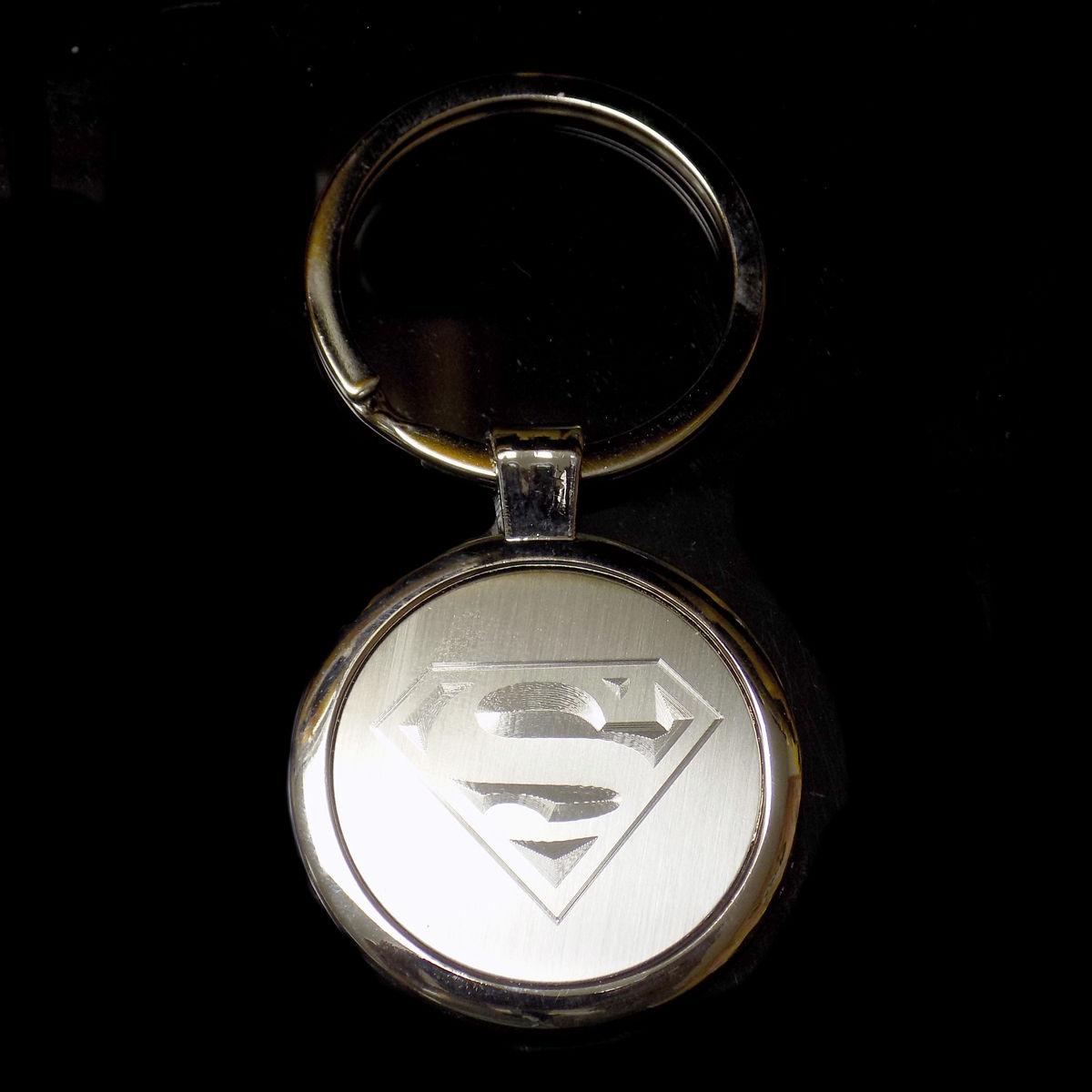Superman Fill Design Keychain Key Chain Tag Engraved Silver Tone Metal KEN-0050