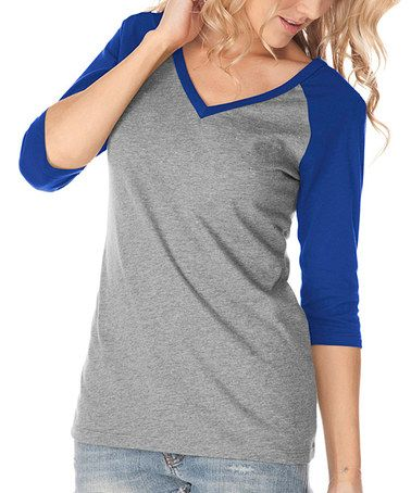 Take a look at this Dark Heather Gray & Cobalt Blue V-Neck Raglan Tee on zulily today!