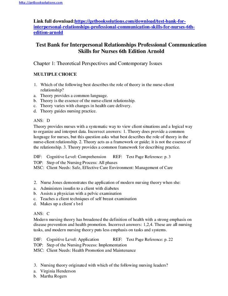 Test Bank for Interpersonal Relationships Professional Communication ...