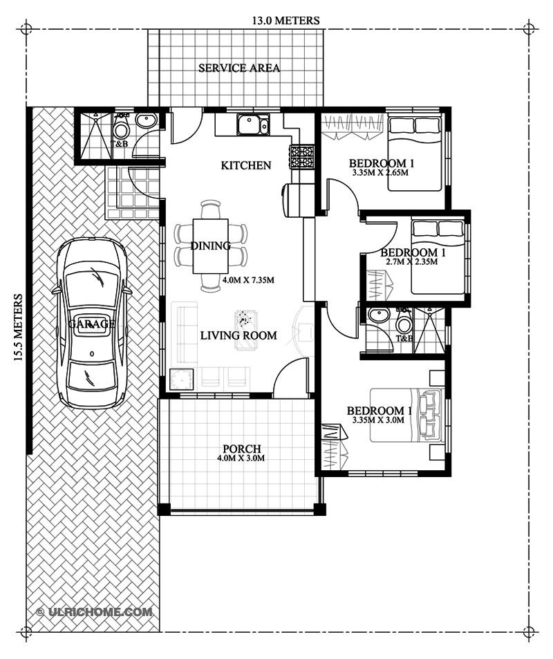 Modern Three Bedroom Small House Design Ulric Home House Floor Plans Small House Floor Plans Small House Design