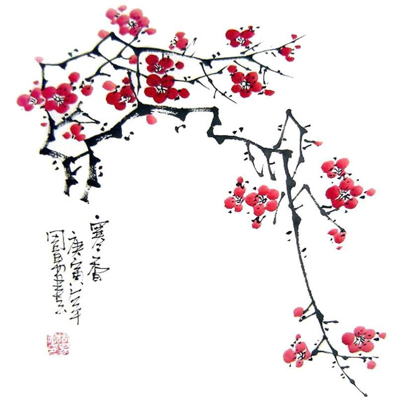Making Plum Blossom Art For Chinese New Year Google Search Plum Blossom Painting Cherry Blossom Art Cherry Blossom Painting
