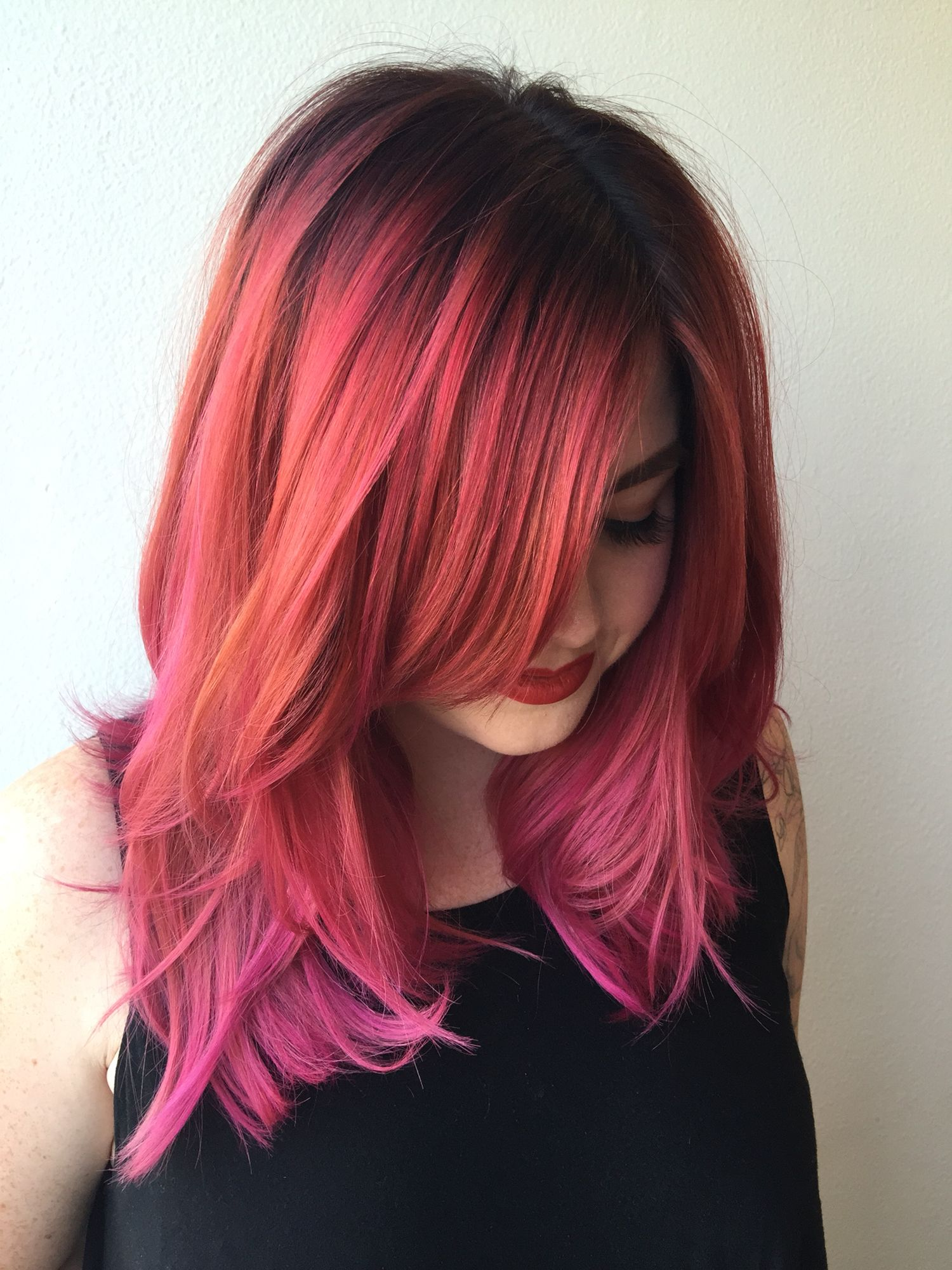 Dark Root To A Deep Copper Pink To A Fushia Pink Hair Ombre Hair Color Hair Color Pink Ombre Hair