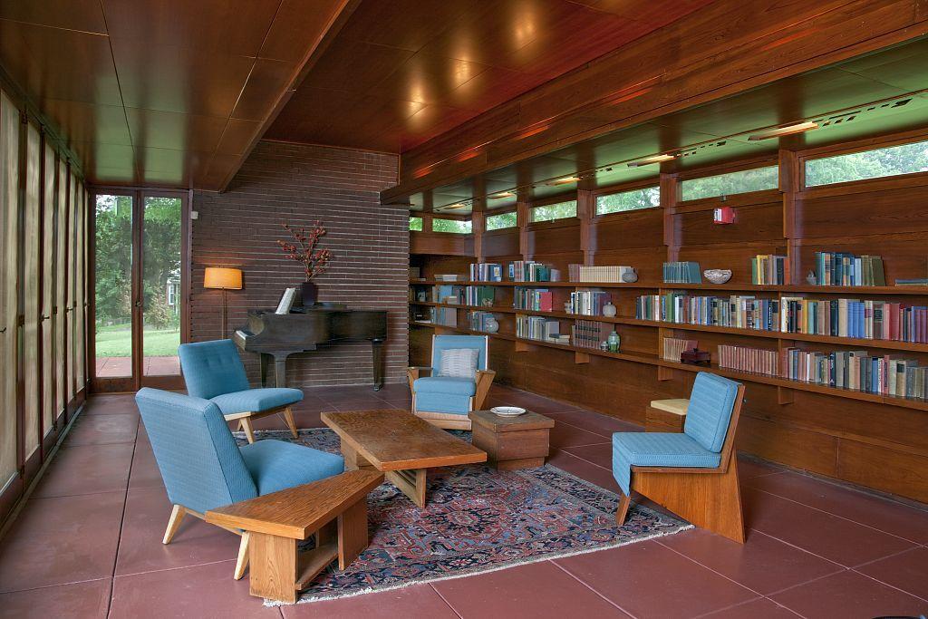Interior photo of the open plan rosenbaum house in - Frank lloyd wright house interiors ...