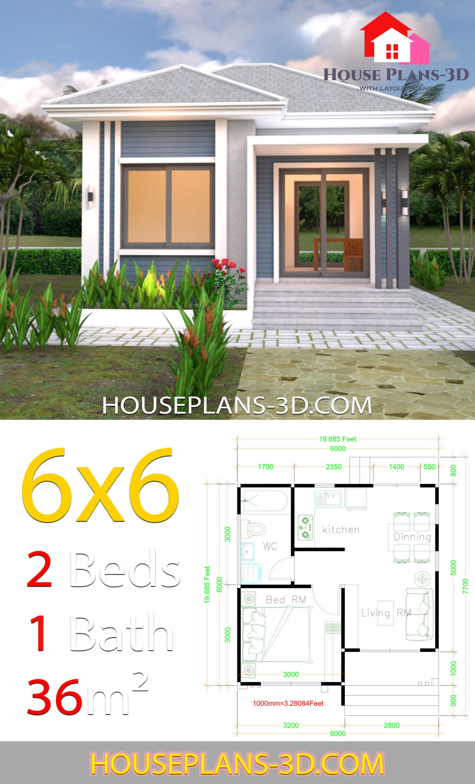 House Plans 6x6 With One Bedrooms Hip Roof House Plans 3d Flat Roof House House Plans One Bedroom House