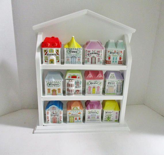 Vintage Spice Rack With 12 Jars Porcelain Victorian Houses Spice Rack Vintage Hanging Spice Rack White Wood Shelves