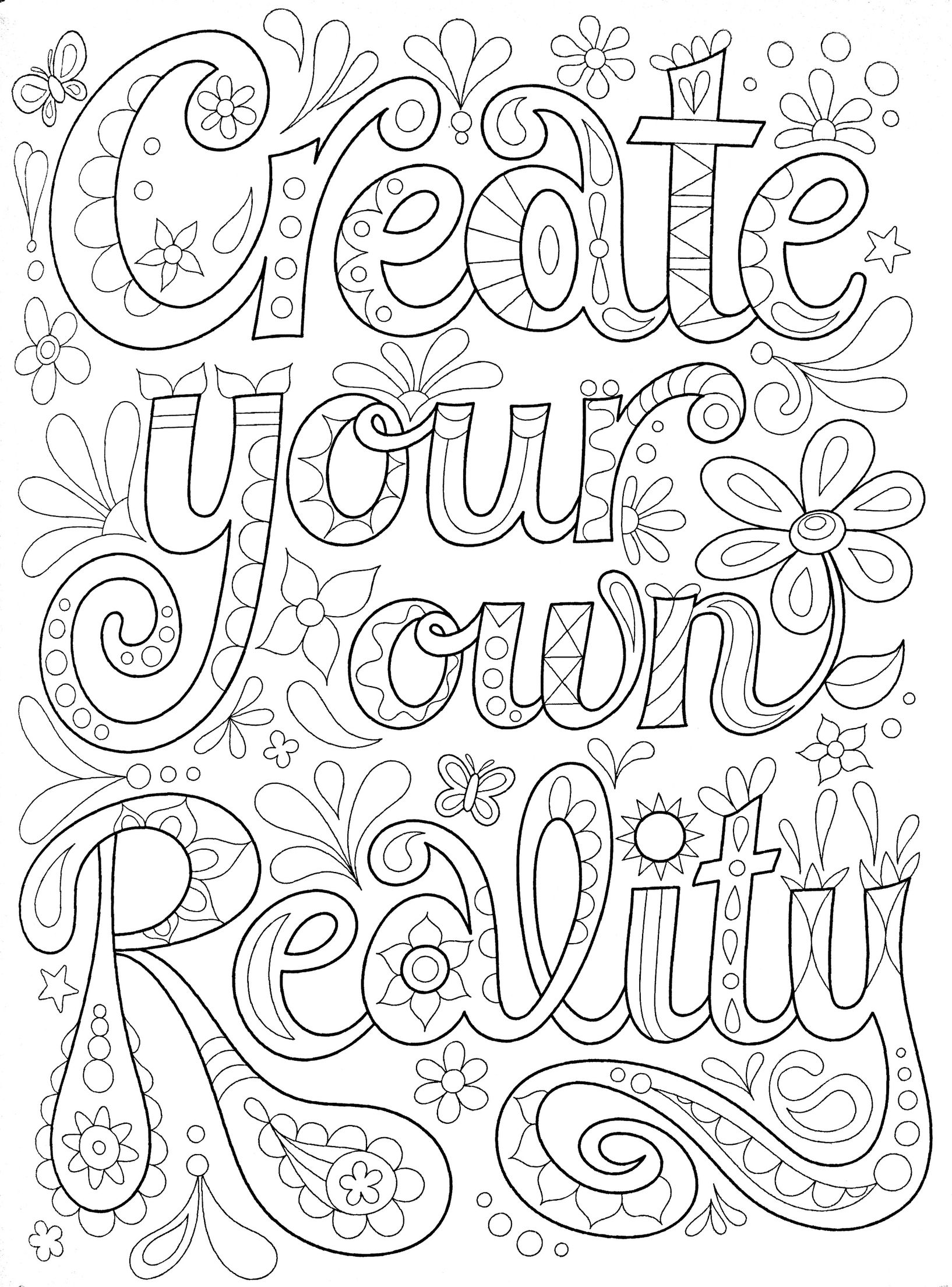Adult Coloring Page Quote Coloring Pages Coloring Pages Free