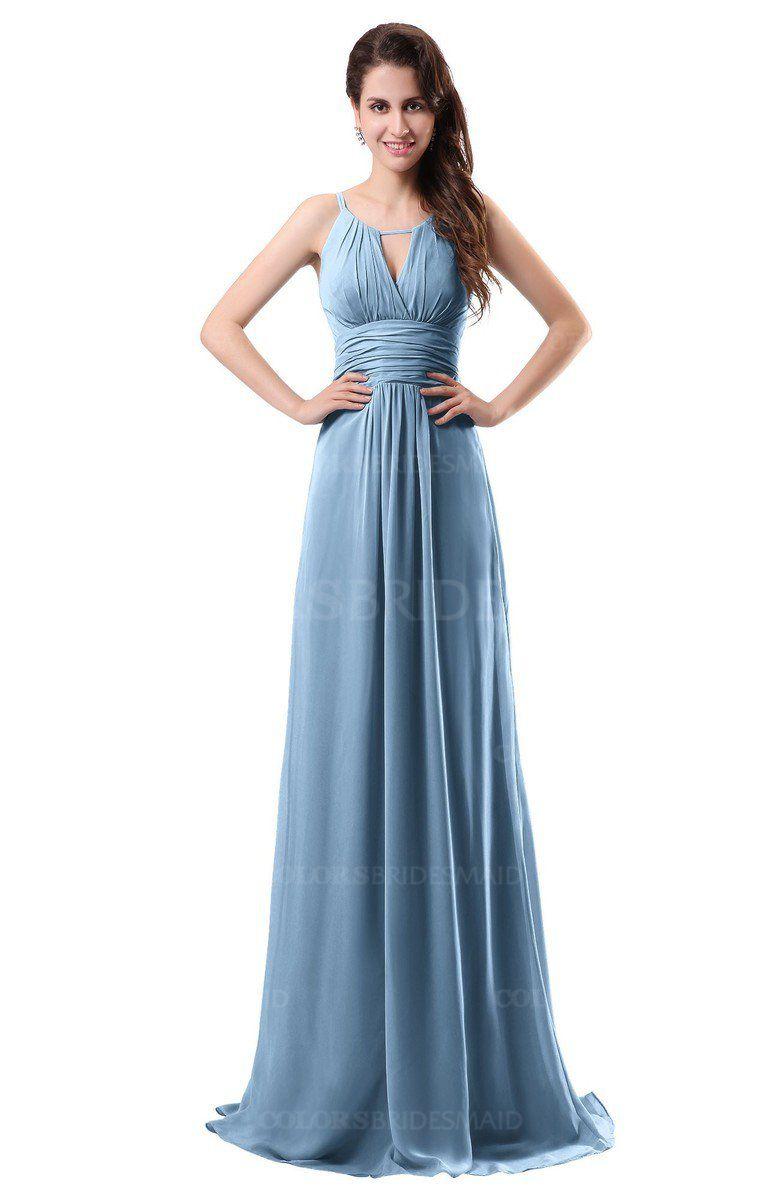 Guava wedding dresses  Sky Blue Simple Column Scoop Chiffon Ruching Bridesmaid Dresses