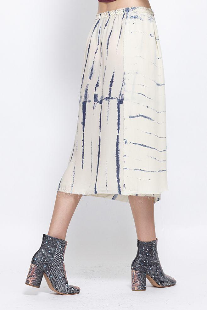 Raquel Allegra Silk Skirt (Ivory Tie Dye)