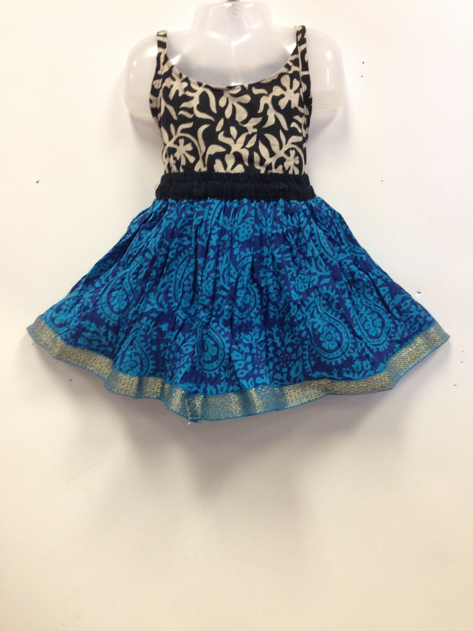 35c345d812fe Rajasthani Print Cotton Skirt and Top - Black and Blue | Lil' Ones ...