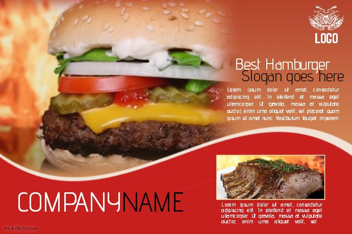 Hamburger Fast Food Flyer Template Landscape Red  Postermywall