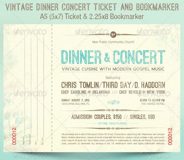 Vintage Dinner Concert Ticket and Bookmarker Party Ideas