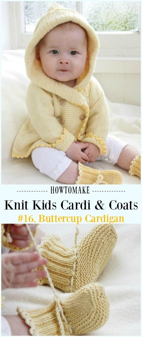 Kids Cardigan Sweater Free Knitting Patterns   Tejido, Bebe y Bebé