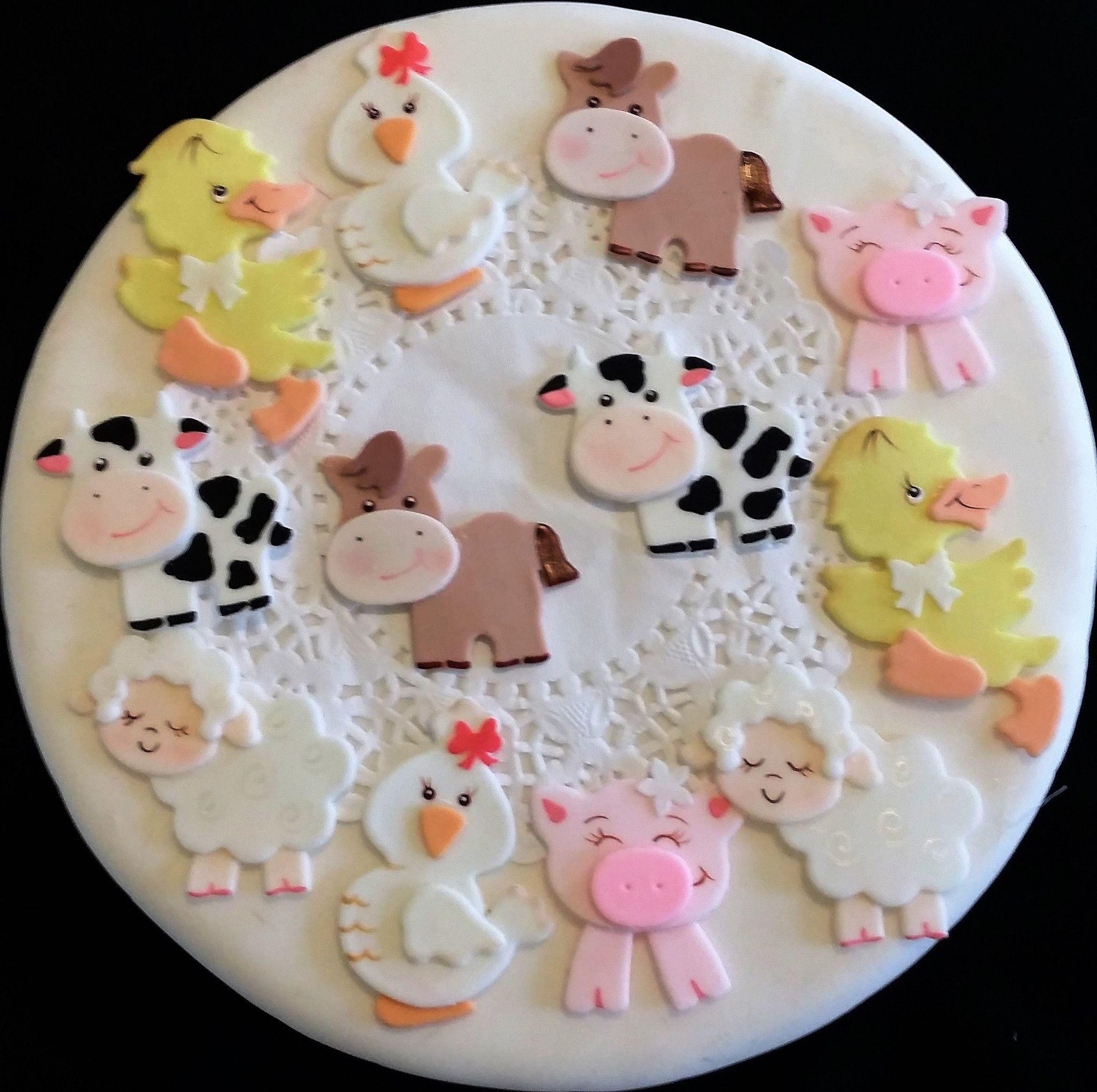 Farm animals cupcake toppers farm birthday decorations for Animal cake decoration ideas