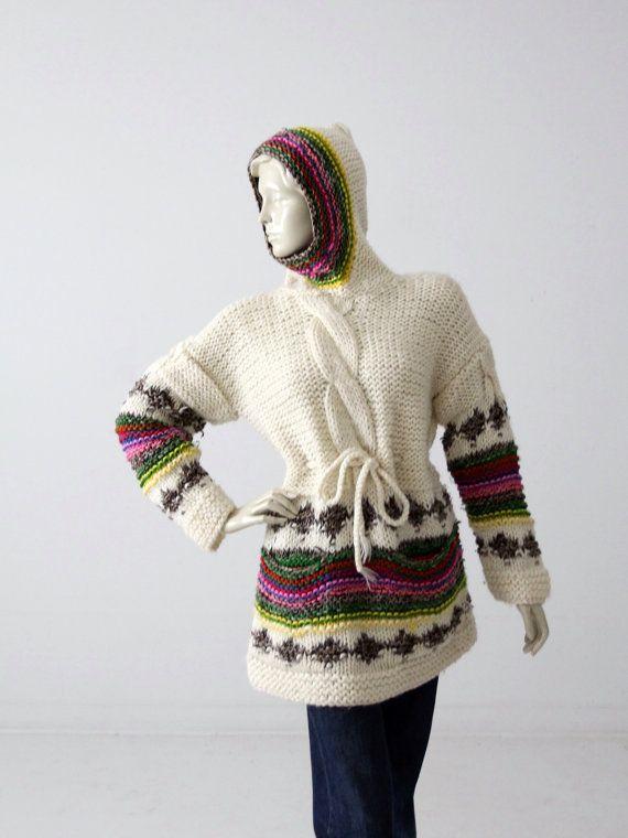04073ef98fbb Vintage 70s hoodie sweater, chunky knit boho sweater, drawstring ...