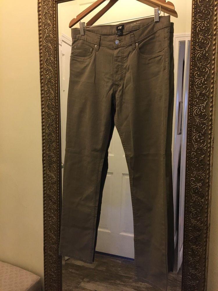 Hm slim fit womens pants size 32 98 cotton 2 elastane