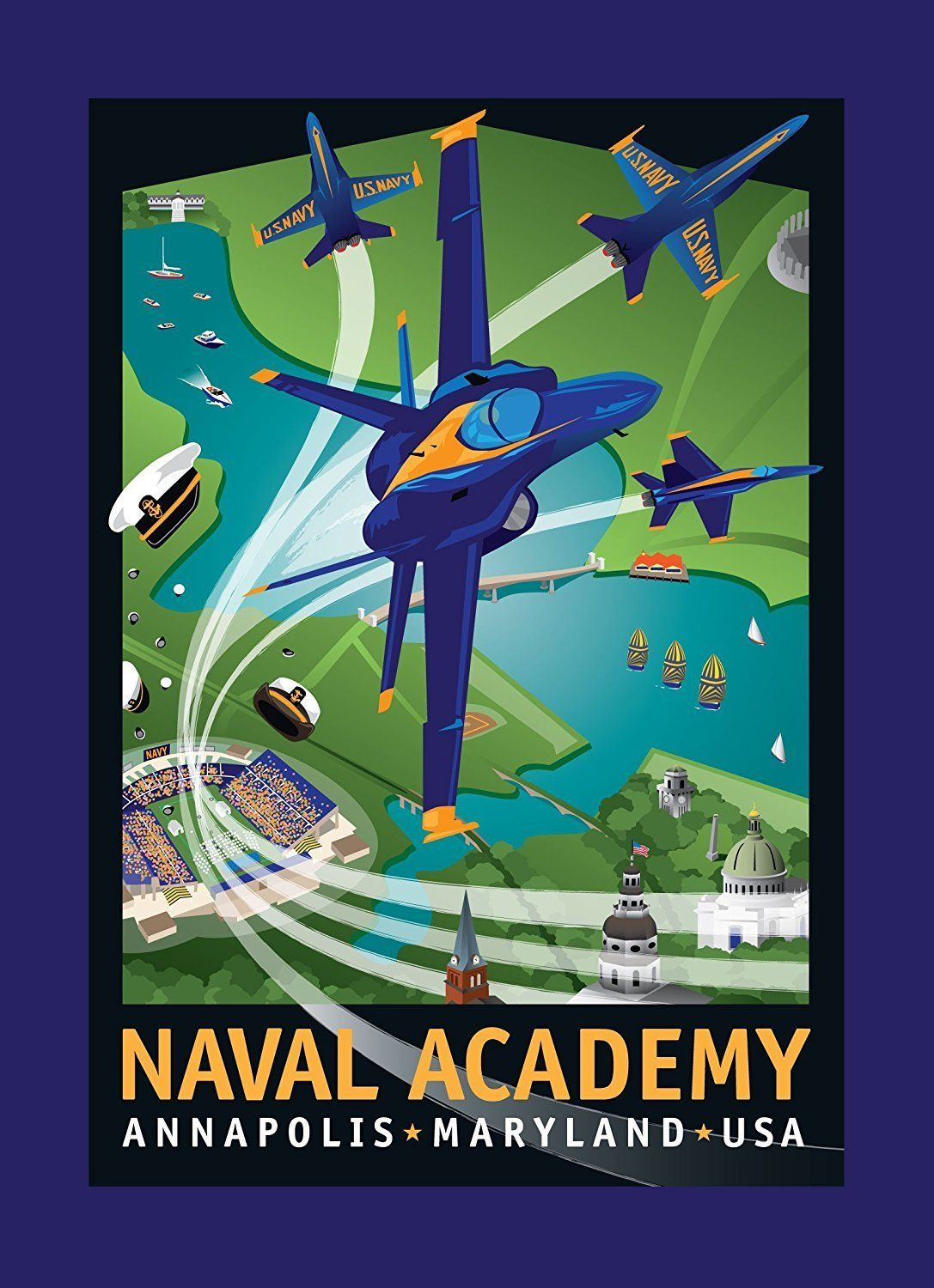 Blue Angels Naval Academy Notecard by Joe Barsin, 5x7