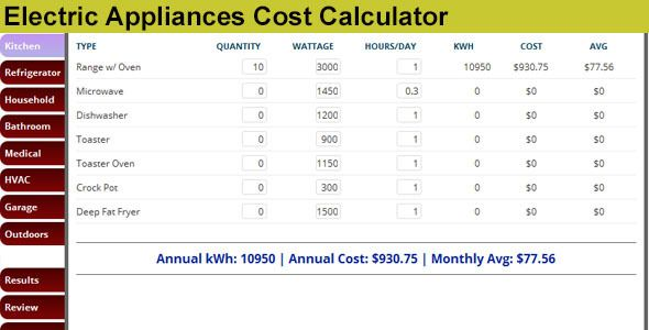 Electric Appliances Cost Calculator  Electric appliances calculator - home building cost estimate spreadsheet