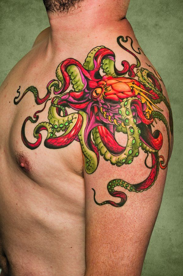Photo of Colorful octopus tattoo.