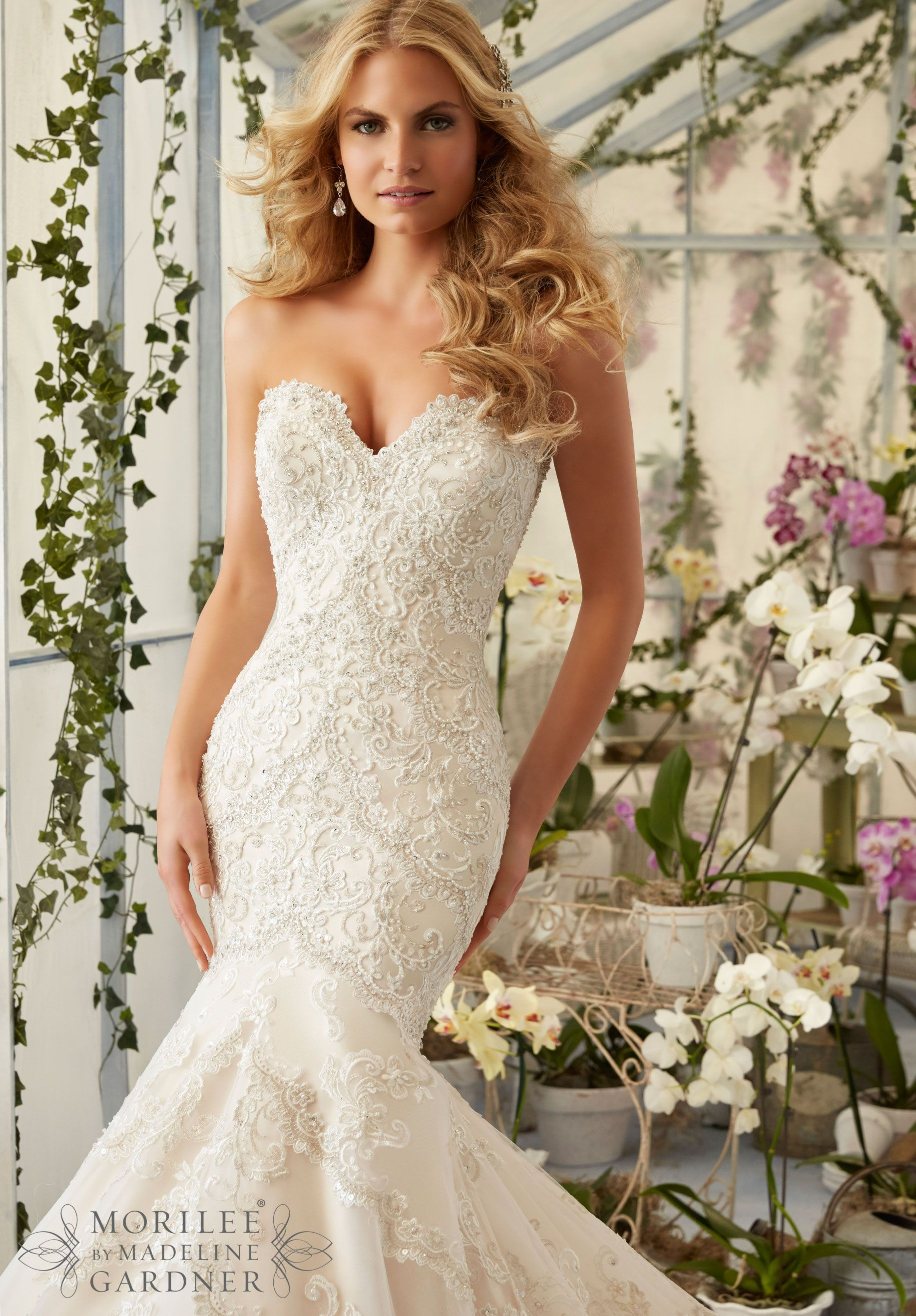 Wedding Dress 2801 Embroidered Appliques And Edging With Crystal Beading On Tulle