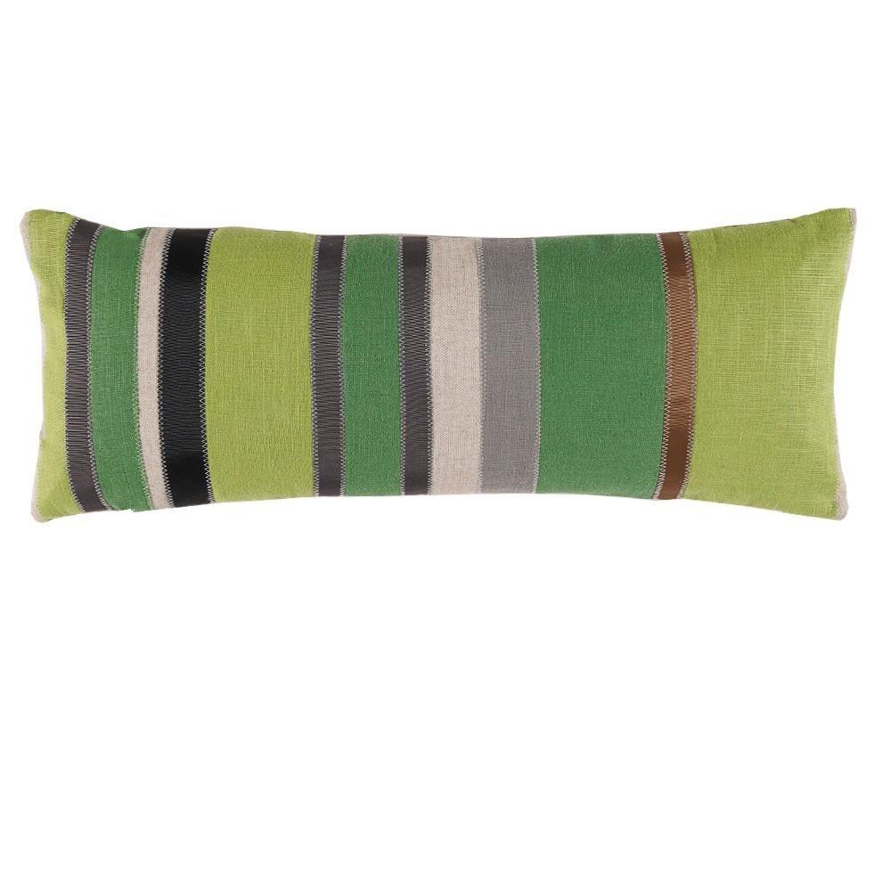 Lime kelly stone ribbon stripe x lumbar pillow