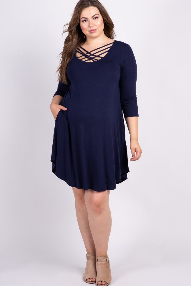 37ec62e79e Navy Blue Solid Caged Plus Maternity Swing Dress