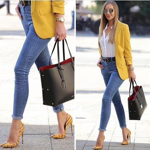 2019 Sokak Modasının En Şık Kıyafet Kombinleri Mavi Skinny Kot Pantolon Beyaz Gömlek Sarı Ceket Sarı Stiletto Ayakkabı