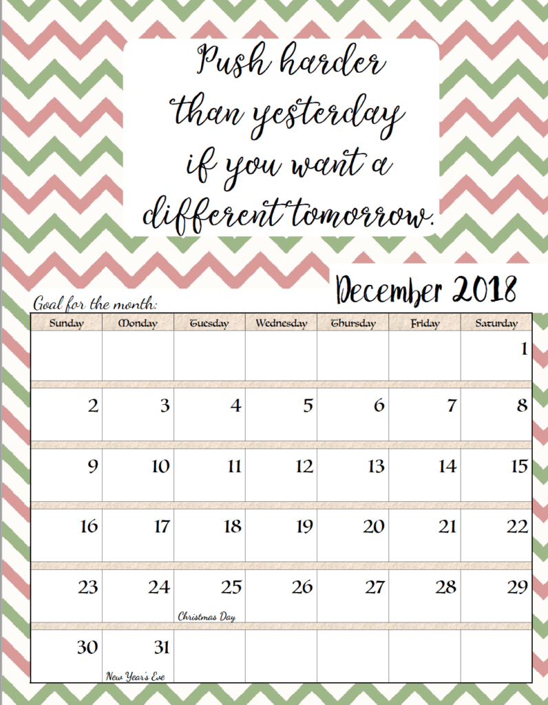 Free Printable 2018 Monthly Motivational Calendars Structure