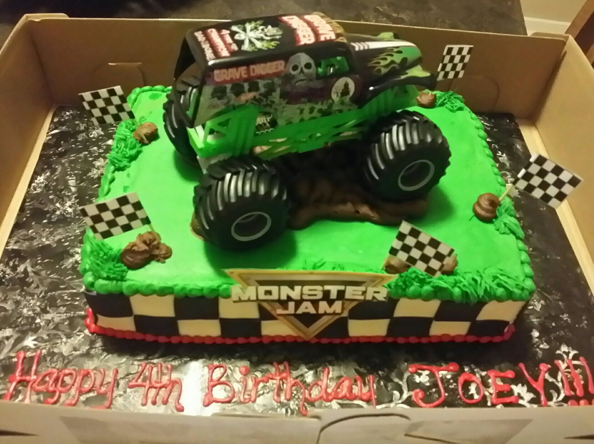 Grave Digger Monster Jam Cake Monster Truck Birthday Party Ideas