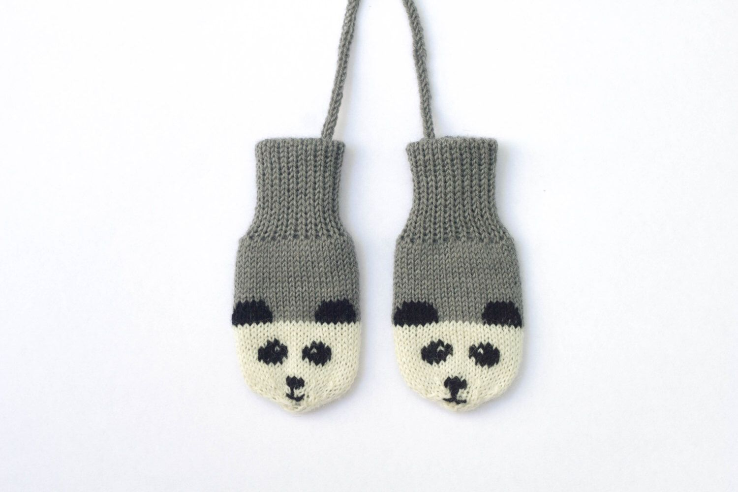 Panda Mittens. Grey knitted baby mittens with little panda faces ...
