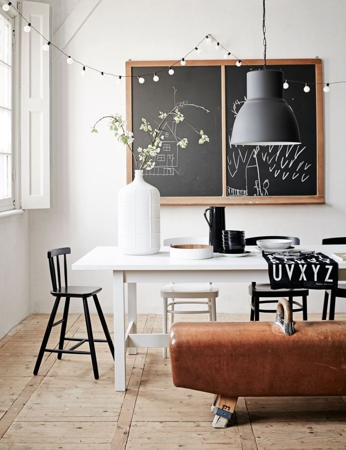 Dining Room Chalkboard Chairs Rustic Pendant Light Black