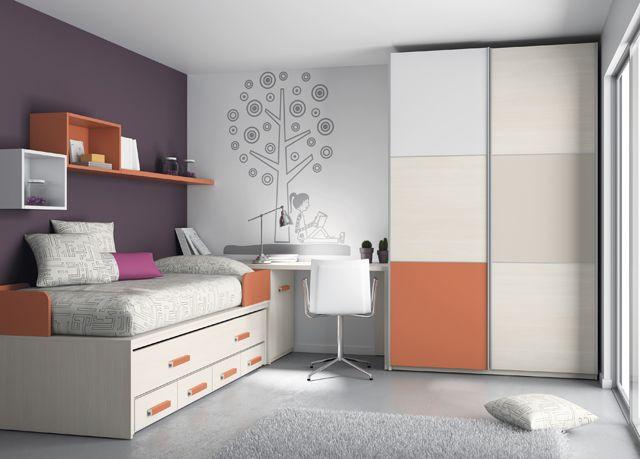 Kids touch 32 dormitorio juvenil juvenil camas compactas y for Cama nido compacta con cajones