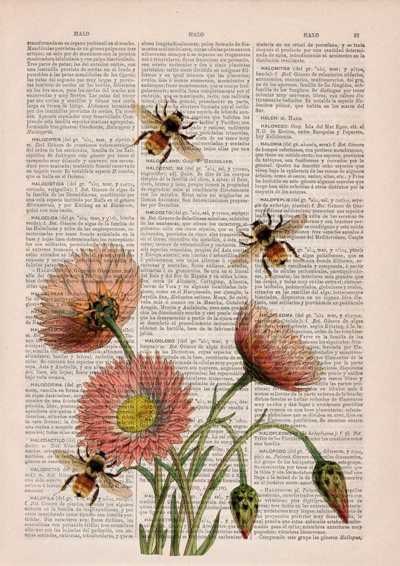 Photo of Wall art home decor Bees with flowers 2 Dictionary art poste…