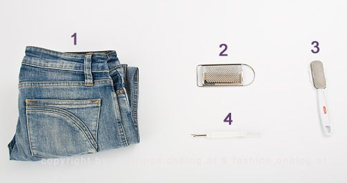 fashion diy idee used destroyed jeans selbermachen jeans muskat reibe hornhaut feile. Black Bedroom Furniture Sets. Home Design Ideas