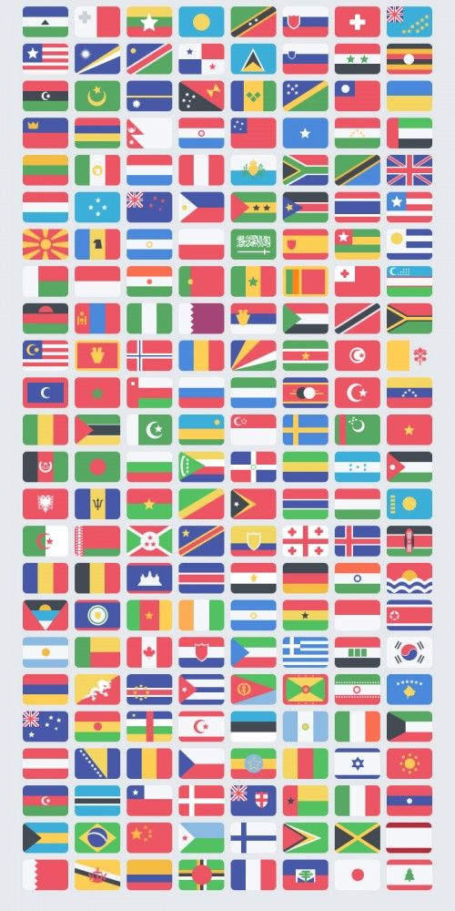 Flags from around the world in nice flat design pack