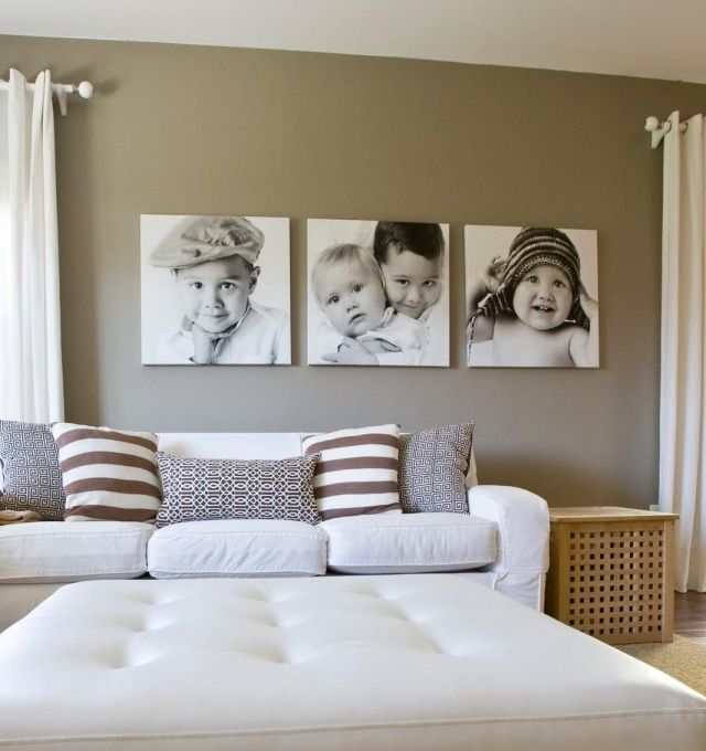 wanddeko-ideen-wohnzimmer-schwarz-weisse-fotos-leinwand-kinder.jpg ...