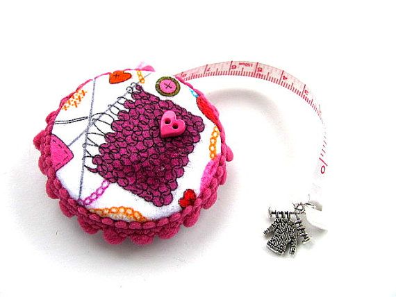 Measuring Tape Knitting Theme Retractable by AllAboutTheButtons