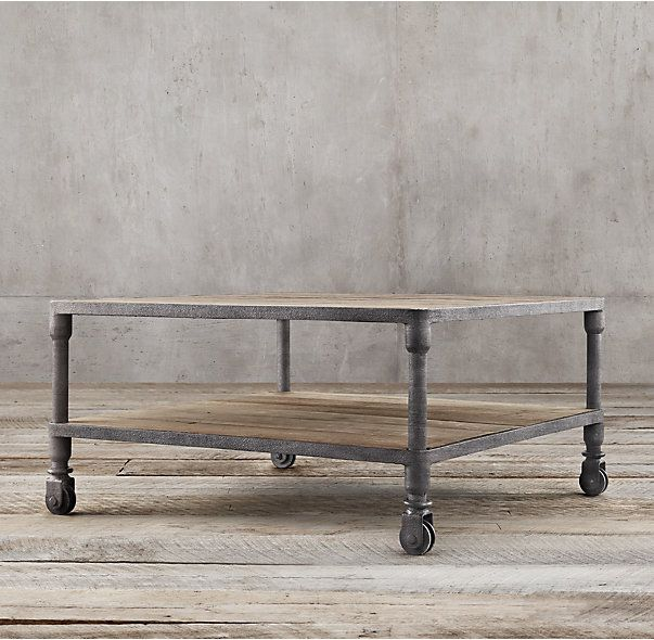 Suffolk Simplicity Reclaimed Wood Square Industrial Coffee: Dutch Industrial Square Coffee Table