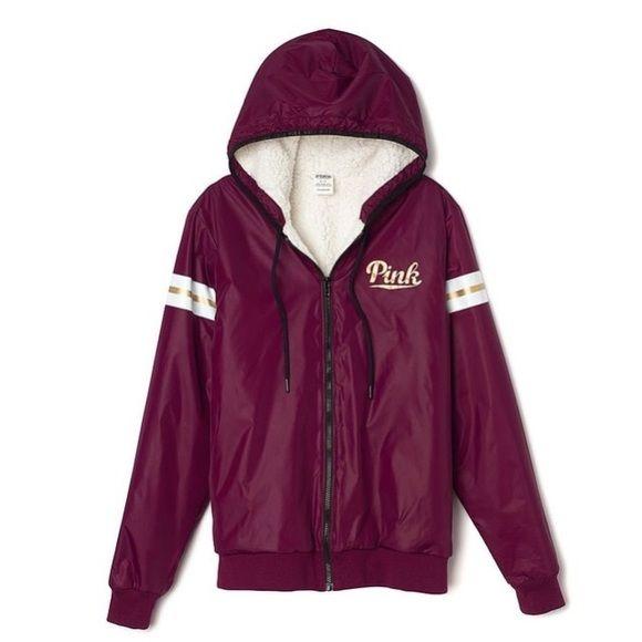 Victorias secret Pink Sherpa Lined Hood Anorak Windbreaker Jacket Med//Large Color Black