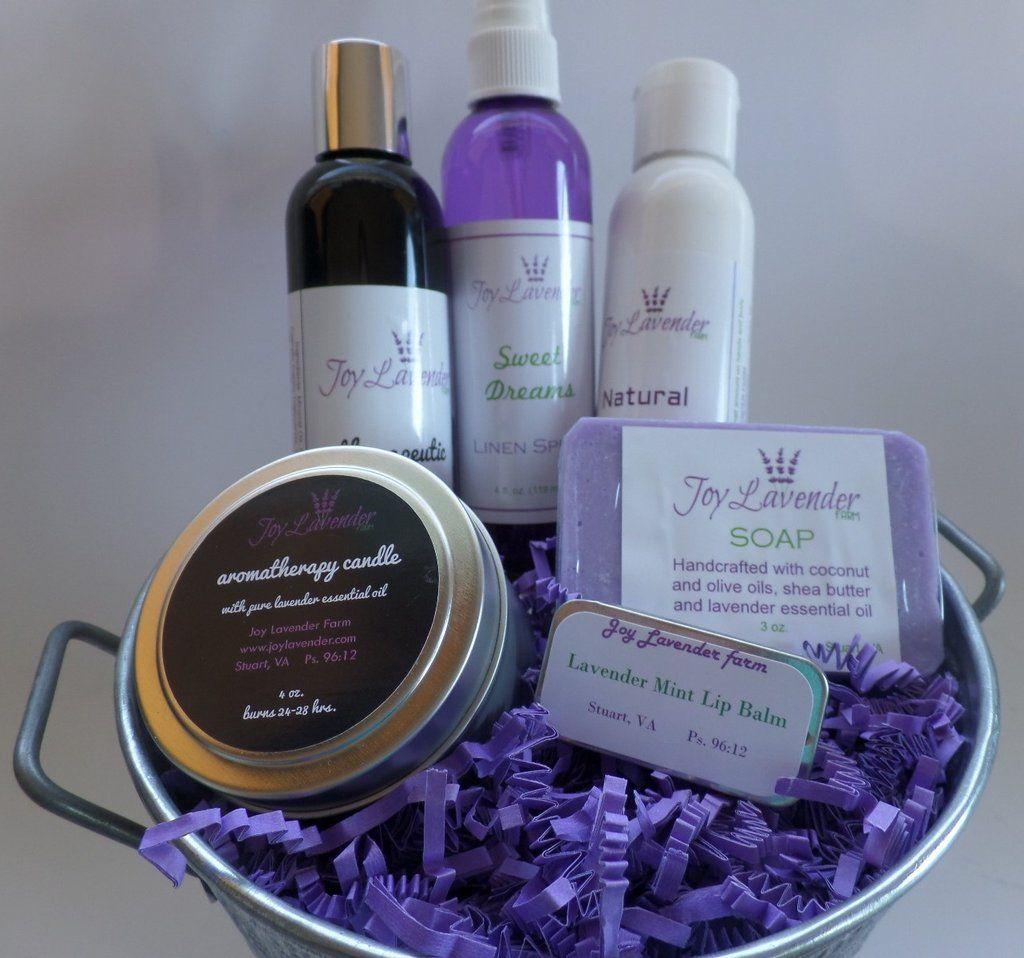 """The """"Lavender Sampler"""" Joy Bucket. Lavender gift set.   Natural Lavender products.  Lavender Farm Gift  Lavender farm bath set Pure Therapeutic Lavender Essential Oil. Lavender Farm Gift Set"""
