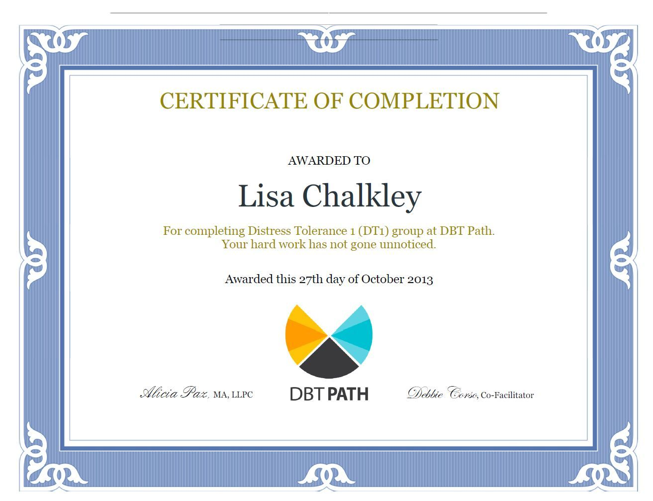 My First Dbt Class Completion Certificate Happydance