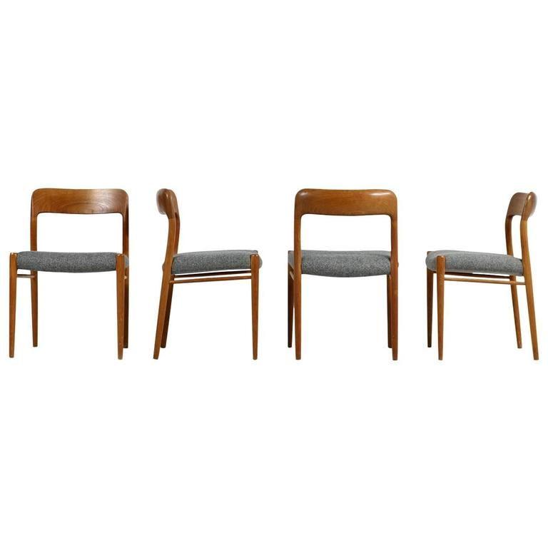 Fantastic Set Of Four Niels Moller Teak Dining Chairs Model 75 Danish Modern 1stdibs Com Teak Dining Chairs Danish Modern