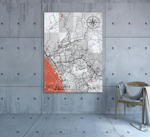 OCEANSIDE CA Canvas Print California Vintage map Oceanside City