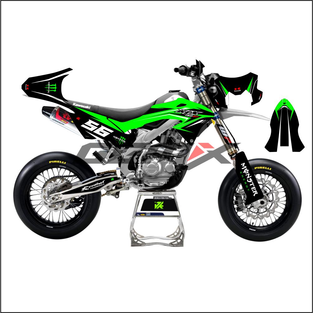 Decal Motor KLX BF 150 Desain Custom Terbaru Warna Hijau