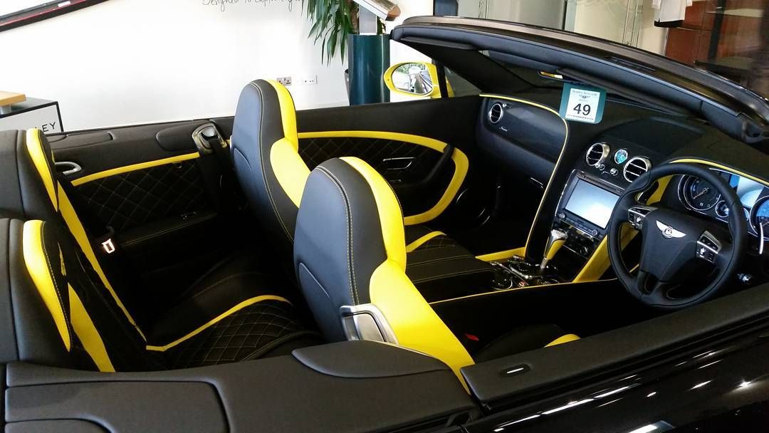 Bentley Continental GT Speed Convertible yellow and black interior ...