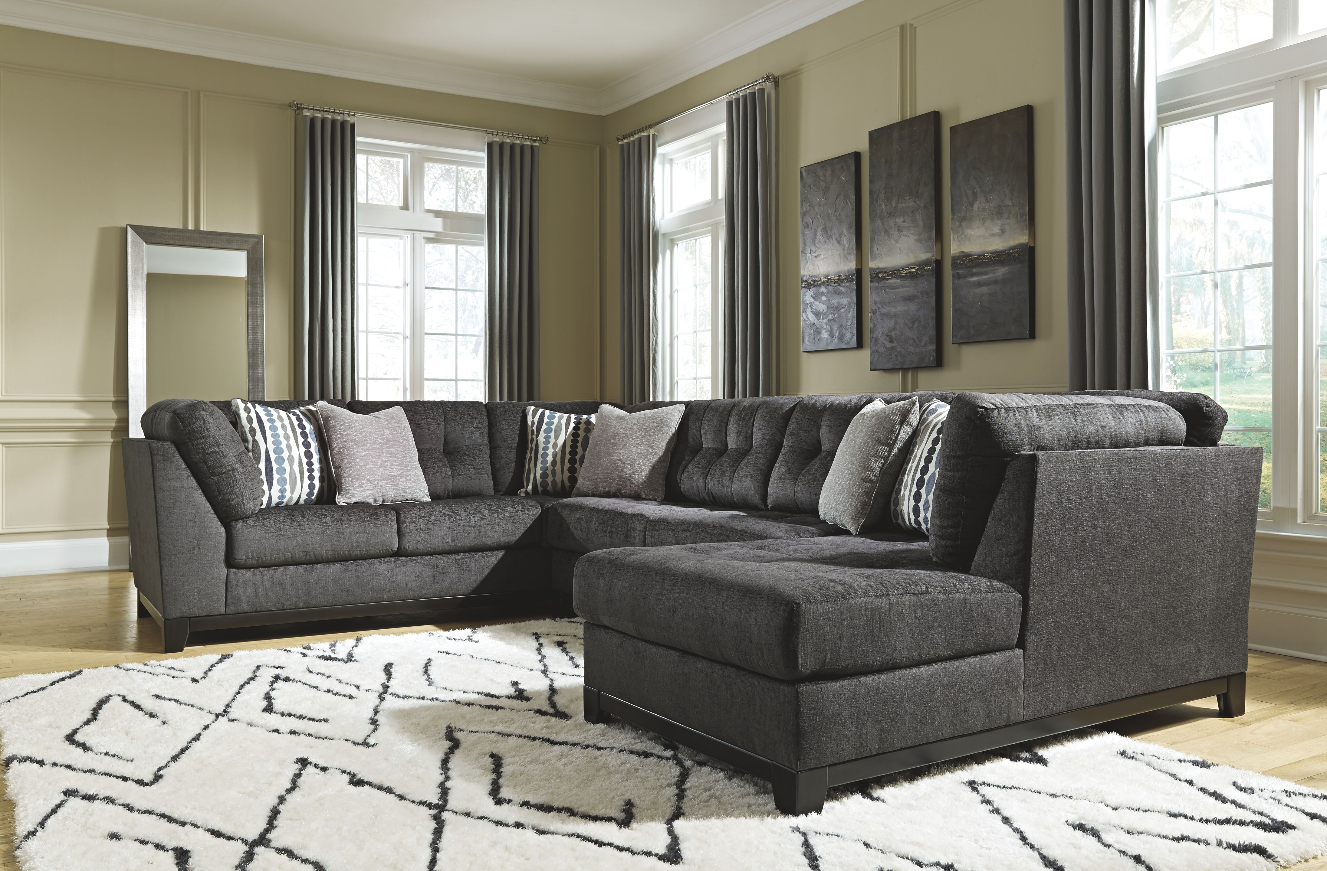 Reidshire 3 Piece Sectional With Chaise Steel Furniture Elegant Living Room Decor 3 Piece Sectional Sofa
